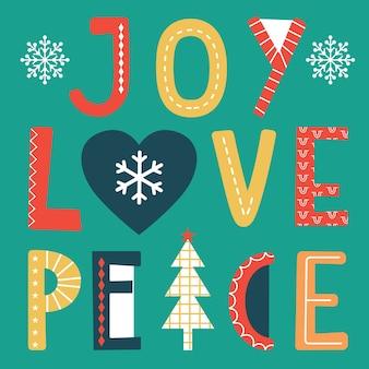 기쁨, 사랑과 평화 텍스트와 함께 귀여운 크리스마스 인사