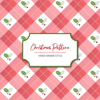 Cute christmas hand drawn checkered seamless pattern