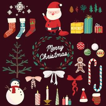 かわいいクリスマスハンドドロー要素