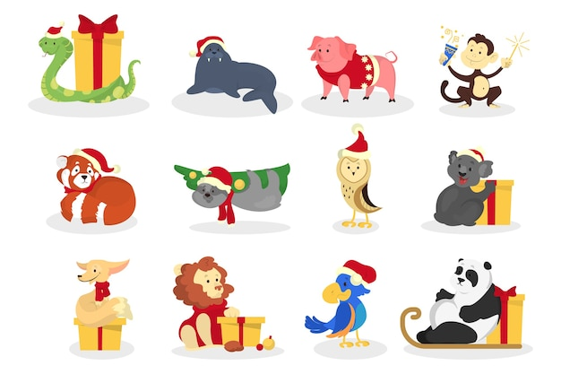 Cute christmas happy animal in santa hat set. collection of character with gift box. merry christmas and a happy new year greeting card element.   illustration in cartoon style
