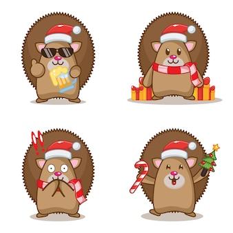 Милый рождественский ежик иллюстрации набор