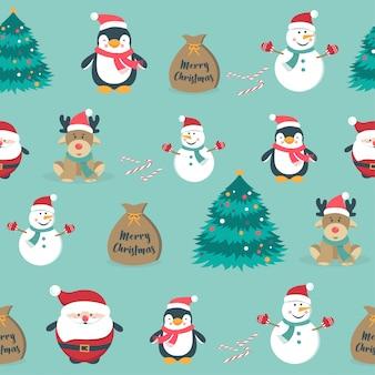かわいいクリスマス休日の漫画のシームレスパターン
