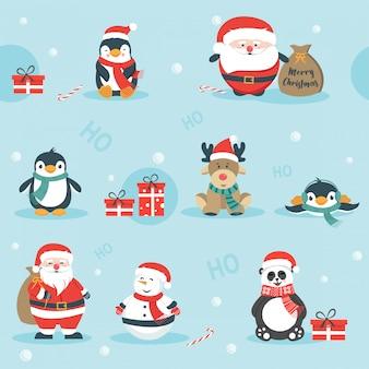 Cute christmas holidays cartoon seamless pattern
