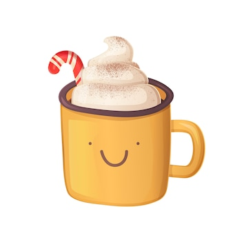 Cute christmas hot chocolate with whipped cream and cocoa powder in realistic cartoon style