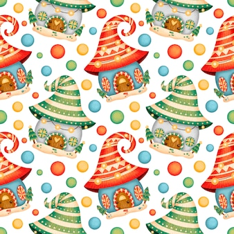 Cute christmas houses seamless pattern