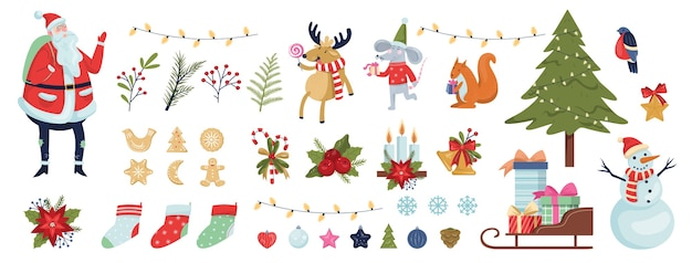 Cute christmas icon set. collection of new year decoration stuff. christmas tree, gift, bells, ginger bread. santa claus in red clothes. raindeer, new year rat and squirrel.  illustration
