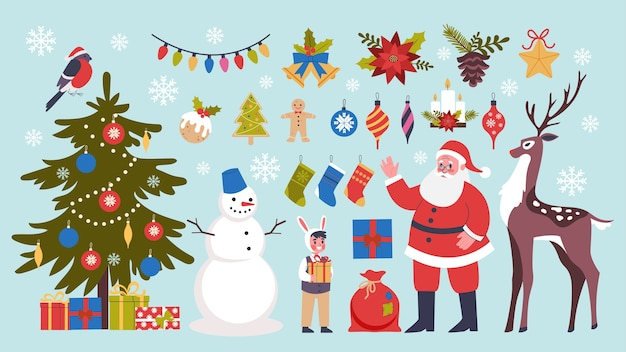 Cute christmas icon set. collection of new year decoration stuff with tree, gift and candy. merry xmas concept. santa claus in red clothes.  illustration in  style