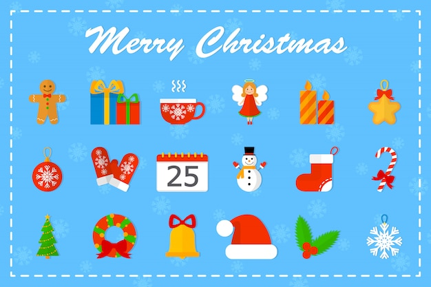 かわいいクリスマスのアイコンを設定します。お菓子とツリー、ギフト、ベルと新年のもののコレクション。メリークリスマスのコンセプトです。図