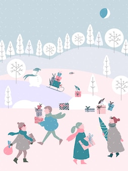 Cute christmas illustration of winter season with people
