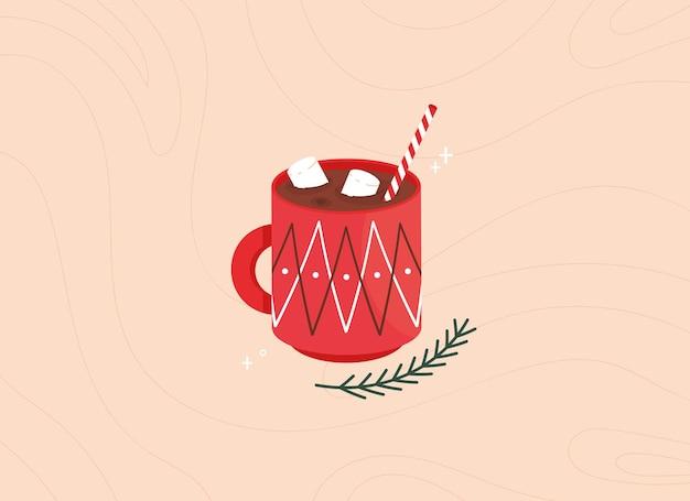 Милая рождественская иллюстрация с чашкой какао с зефиром