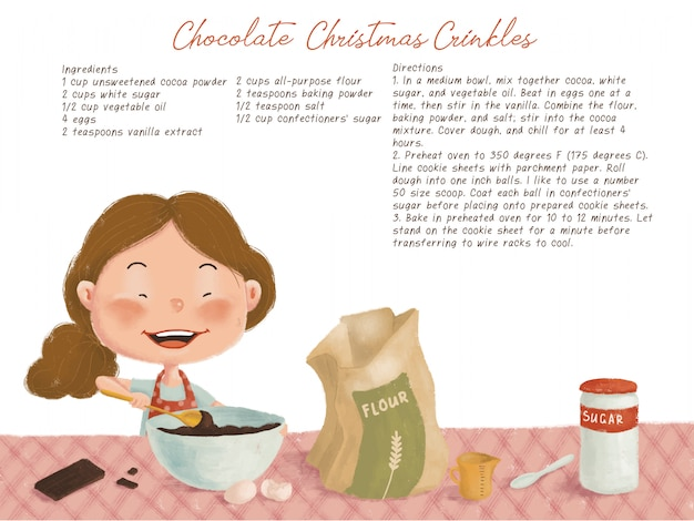 Cute christmas illustration with chocolate cookies recipe