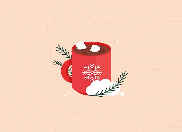 Cute christmas illustration with a cup of cocoa with marshmallows
