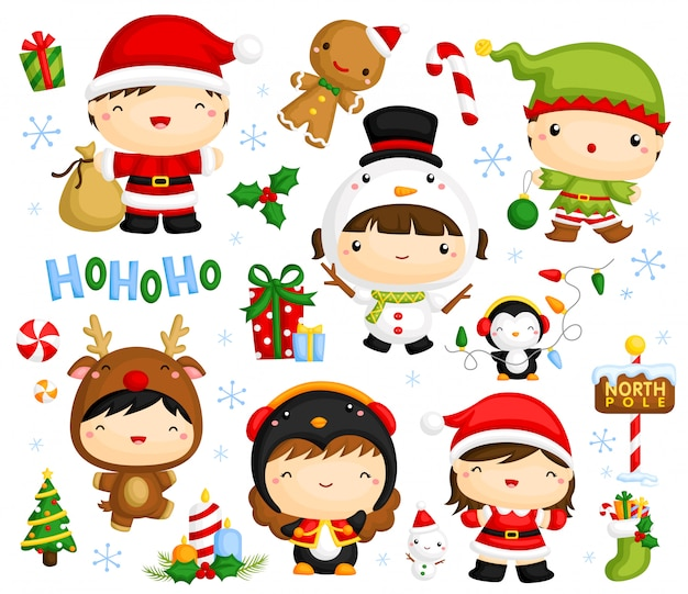 Cute christmas kids vector set