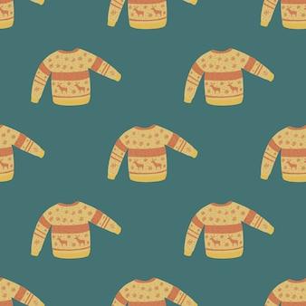 베이 지 색상 완벽 한 패턴에 귀여운 크리스마스 니트 스웨터.