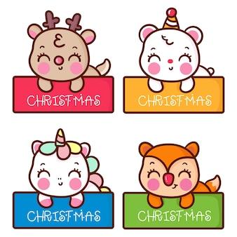 Cute christmas label cartoon set of kawaii animals hand drawn