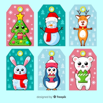 Cute christmas label collection in flat design