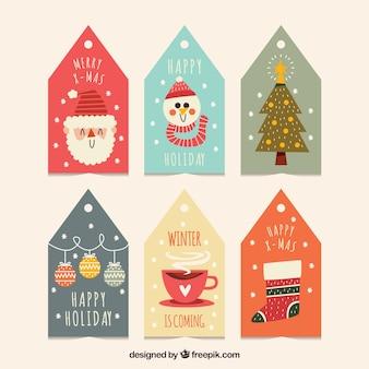 Симпатичные рождественские наклейки установлены