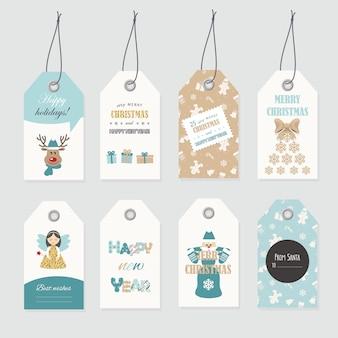 Cute christmas labels set.