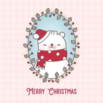 귀여운 크리스마스 나뭇잎 프레임 북극곰과 원활한 패턴