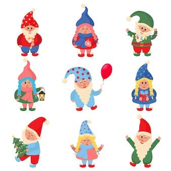 Симпатичная рождественская коллекция маленьких гномов. набор векторных иллюстраций.