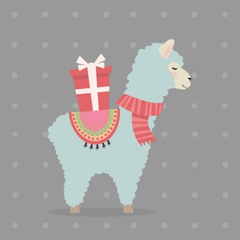 Cute christmas llama or alpaca with a gift christmas and new year concept