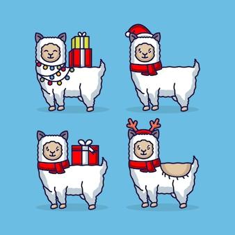 かわいいクリスマスラマのマスコットデザイン