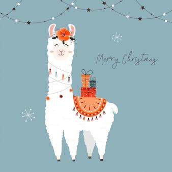 Симпатичная рождественская лама.
