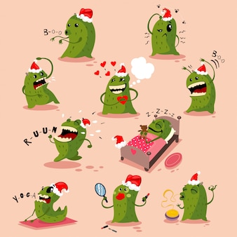 산타 모자에 귀여운 크리스마스 괴물. 고립 된 벡터 만화 캐릭터 세트