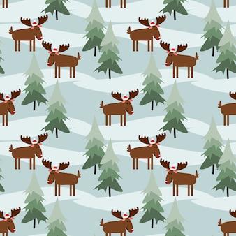 Cute christmas moose seamless pattern.