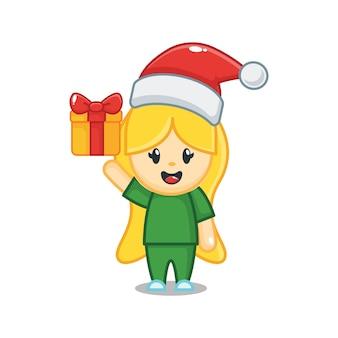 Милая рождественская медсестра с подарочной коробкой