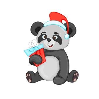 Милая рождественская панда. векторные иллюстрации шаржа. eps