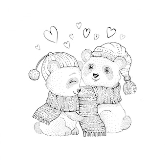 Cute christmas panda couple, sketch doodle animals.
