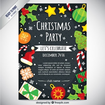 Cute christmas party flyer Free Vector