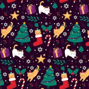 動物とかわいいクリスマスパターン