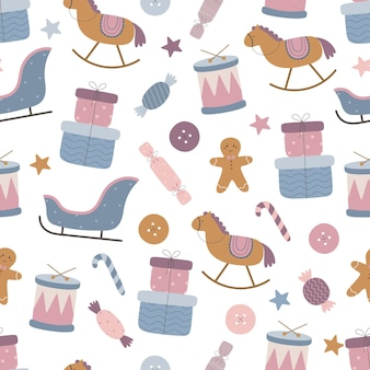 Cute christmas pattern with childrens toys