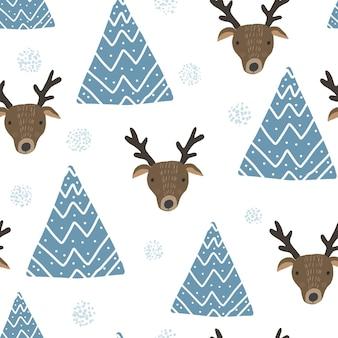 Милый рождественский узор с оленями и деревьями