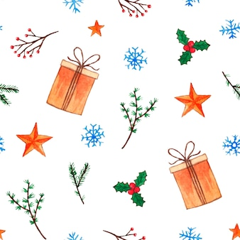 Cute christmas pattern with gift boxes and twigs
