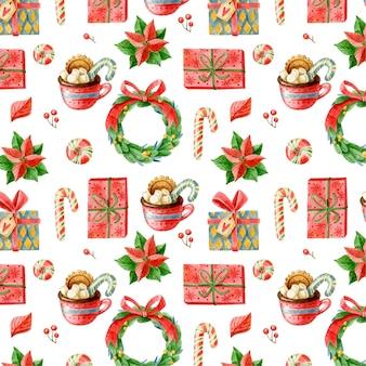 Милый рождественский узор с элементами праздника