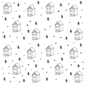 집과 나무와 귀여운 크리스마스 패턴 벡터 원활한 패턴 스칸디나비아 스타일
