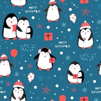 Милый рождественский образец с пингвинами. рождественские мотивы.