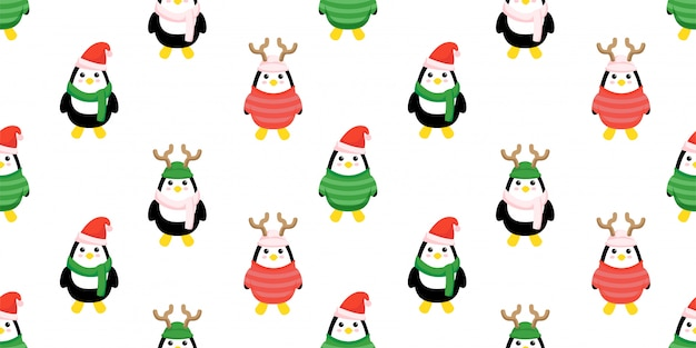 Cute christmas penguin seamless pattern set