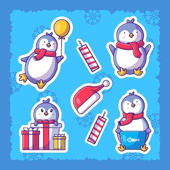 Симпатичные рождественские наклейки с пингвином