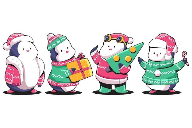 Симпатичные рождественские пингвины в уродливом свитере и набор символов шляпы санты, изолированные на белом фоне. Premium векторы