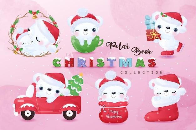 Cute christmas polar bear illustration collection