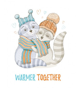 Cute christmas raccoon couple. for greeting card or t-shirt print design.