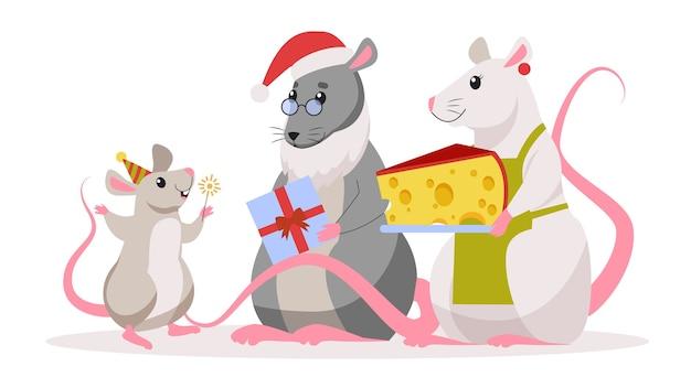 かわいいクリスマスのラット。サンタクロースの帽子の動物キャラクター。ラットの2020年。スタイルのイラスト