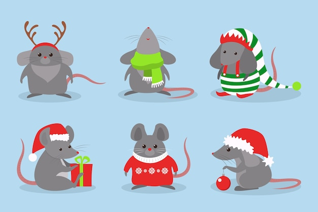 Cute christmas rat set. animal character in santa claus hat. 2020 year of the rat.   illustration in  style