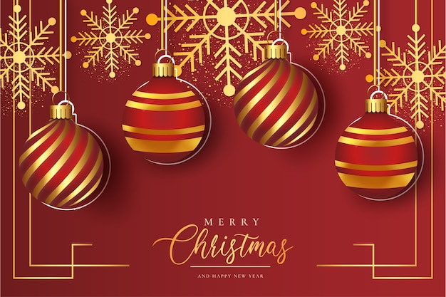 Cute christmas red background with realistic christmas balls template