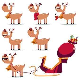 귀여운 크리스마스 순록이 만화 캐릭터 세트 흰색 배경에 고립.