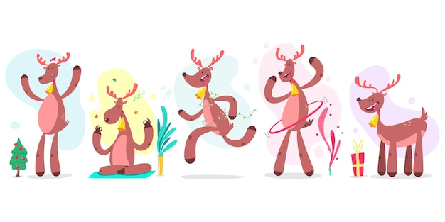 Cute christmas reindeer  cartoon characters set  on white background.